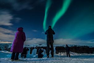 Auroras boreales y fiordos en Noruega